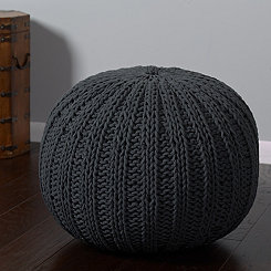 Charcoal Cable Knit Pouf