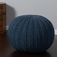 Navy Cable Knit Pouf