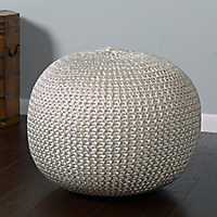 Brushed Silver Knit Frankie Pouf