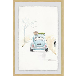 Blue Bug Road Trip Framed Art Print