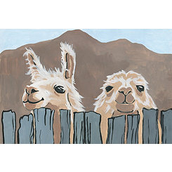 Peekaboo Llamas Canvas Art Print