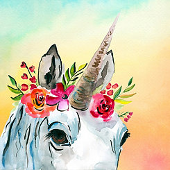 Unicorn Flower Canvas Art Print