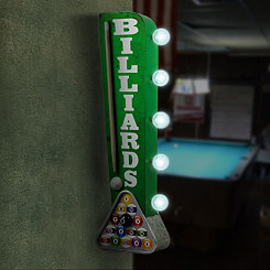Vintage LED Billiards Pool Cue Marquee Wall Plaque