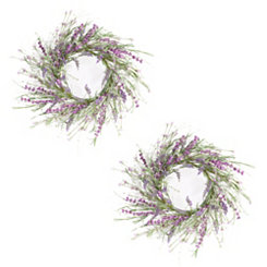 Lavender Mini Floral Wreaths, Set of 2