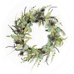 Purple Herb and Thistle Wreath