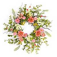 Coral Cosmos Berry Wreath