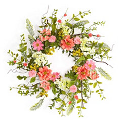 Coral Cosmos Berry Wreath