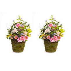 Pink Hydrangeas in Mossy Baskets, Set of 2