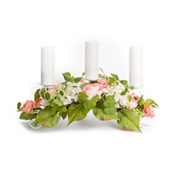 Pink Mixed Floral Candle Centerpiece