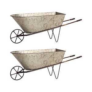 Galvanized Metal Wheelbarrow Planters, Set of 2