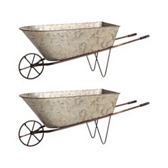 Galvanized Metal Wheelbarrow Planters, Set of 2