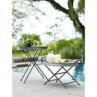 Galvanized Metal Round Tray Table, 24 in.