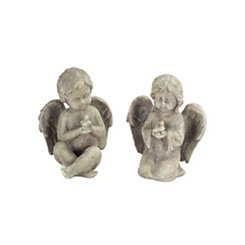 Cherub with Bird Resin Lawn Statues, Set of 2