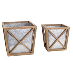 Rustic Wood and Metal Square Planters, Set of 2