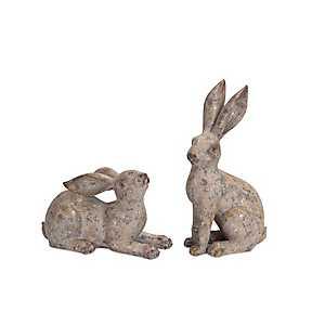 Garden Rabbit Statues, Set of 2