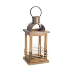 Wood Lantern with Gold Metal Top