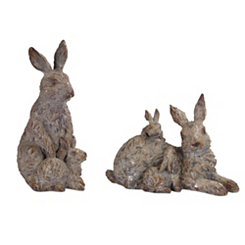 Rabbit Family Statues, Set of 2