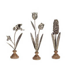 Metal Flower Statues on Wood Stands, Set of 3