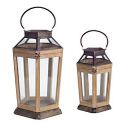 Classic Wood and Metal Lanterns, Set of 2