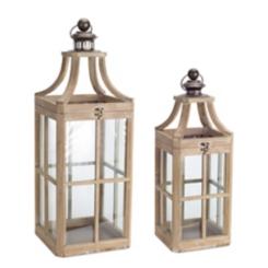 Whitewashed Wood Lanterns, Set of 2