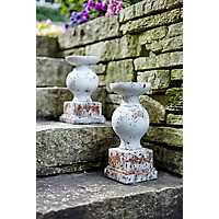 White Cement Candle Holders, Set of 2