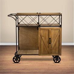 Rustic Wood Barn Door Bar Cart
