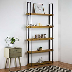 Rustic Wood with Metal Frame Five Level Shelf