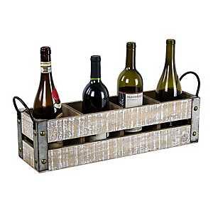 Whitewashed Wood Slat Wine Crate