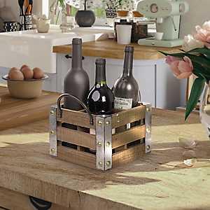 Whitewashed Wood Slat Square Wine Crate