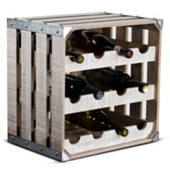 Rustic 12-Bottle White Wood Square Wine Crate