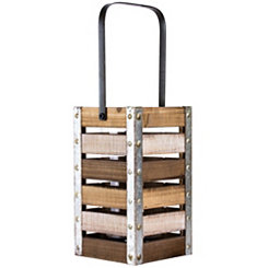 Rustic Wood Slatted Lantern, 10 in.