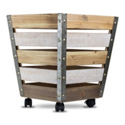 Weathered Wood Slat Crate with Wheels