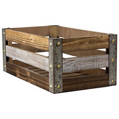 Weathered Wood Slat Crate, 19 in.