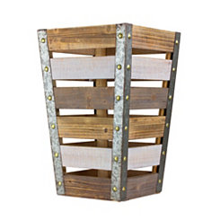 Weathered Wood Slat Tapered Crate, 18 in.