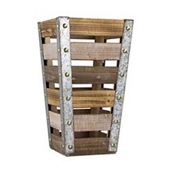 Weathered Wood Slat Tapered Crate, 16 in.