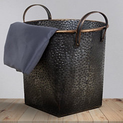 Brown Metal Hammered Basket, 12 in.