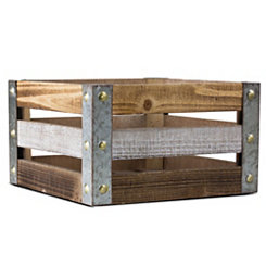Weathered Wood Slat Square Crate, 16 in.