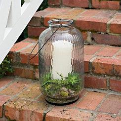 Embossed Glass Lantern, 9 in.