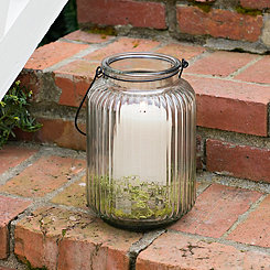 Embossed Glass Lantern, 10 in.