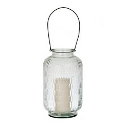 Embossed Glass Lantern, 14 in.