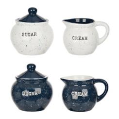 Blue Shibori Cream and Sugar Sets