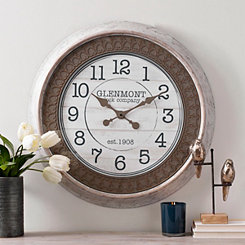 Tan Embossed Wall Clock