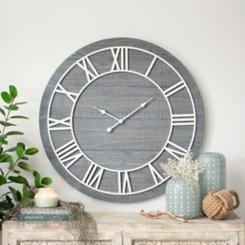 Ava Vintage Blue Wood Wall Clock