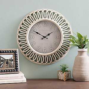 Abbi Distressed Cream Wall Clock