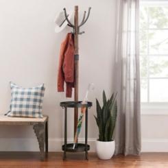 Wood and Metal Coat Rack with Umbrella Holder