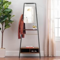 Leaning Coat Rack with Mirror and Shelves