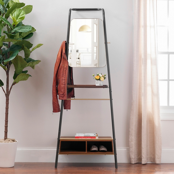 Beau Leaning Coat Rack With Mirror And Shelves