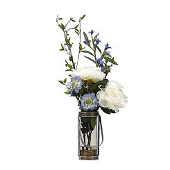 Peony and Scabiosa Arrangement in Glass Vase