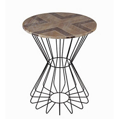 Geometric Wood with Round Metal Base Accent Table