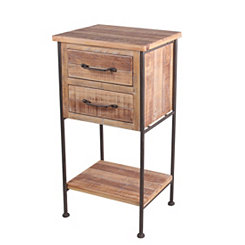 2-Drawer Natural Wood and Metal Frame Accent Table